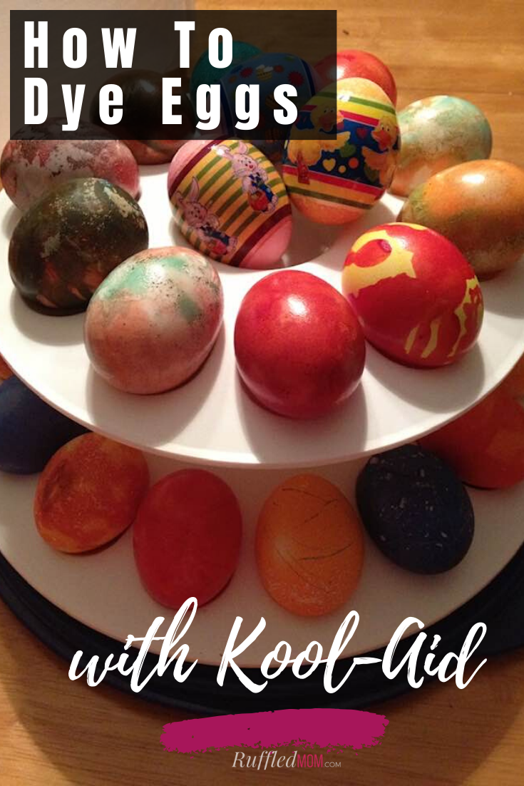 While browsing online for different egg-dying techniques, I stumbled across this idea for dying Easter Eggs with Kool-Aid packets.  It seemed easy enough, so I decided we would give it a try. Well it was easy enough and I loved how they turned out! Find out how to get the same tie-dyed look for your eggs!  #tiedye #easter #eastereggs #easteregg #eggdecorating #eggdying #egg #eggs #koolaid #funforkids