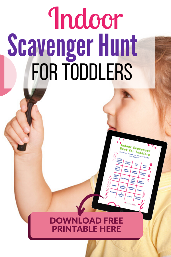 If you have a little one at home with you and are looking for something fun to do, try out an indoor scavenger hunt! You can grab my free printable here! #scavengerhunt #toddlers #hunt #thingstodo #toddler #scavengerhunts #printable #indoor #indoorfun
