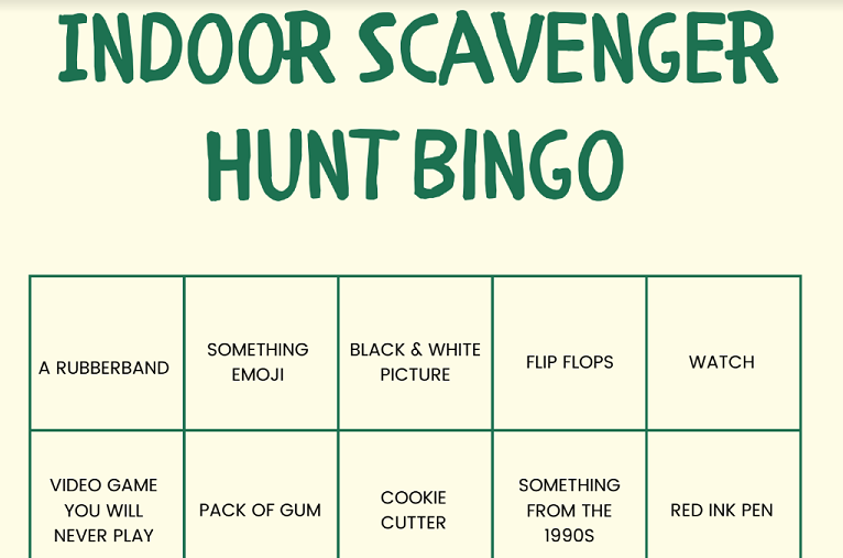 Indoor Scavenger Hunt Bingo preview