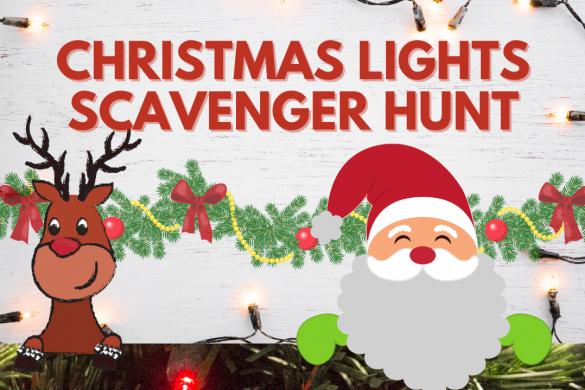Christmas Lights Scavenger Hunt Bingo Game Printable